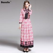 купить High Quality Designer Fashion Runway Summer long Dress Women Long Sleeve Flower Print Elegant Beach Holidays Bohemia Maxi Dress по цене 1911.11 рублей