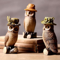 3PCS/SET American Style Resin Owl Figurine Creative Antique Imitation Artificial Home Decoration Crafts Art Collectible ZA3902