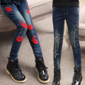 3Y-14Y Teenager Girls Jeans Pant 2017 Children Spring Autumn Casual Light Denim Skinny Patchwork Tight Pencil Pants