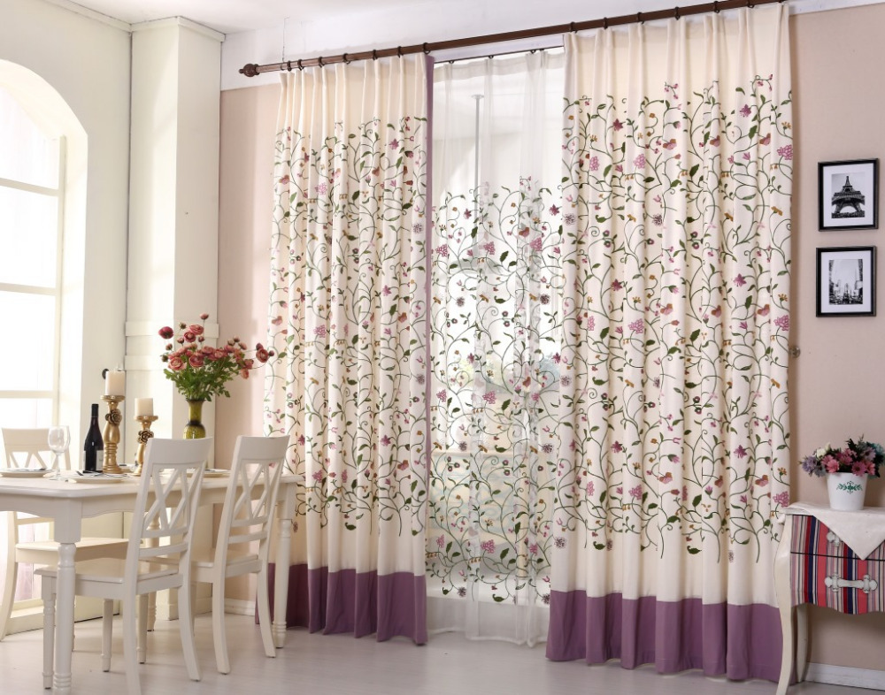 Curtain For Balcony: Floral Blackout Blinds Embroidered Cotton Fabric Curtain