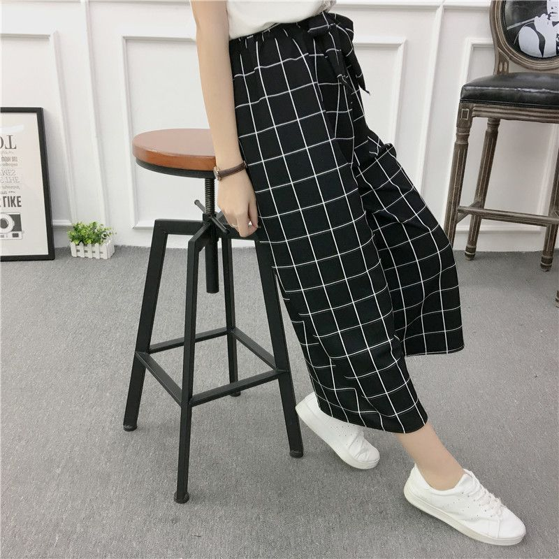 ETOSELL Women New Summer Wide Leg Pants Casual Loose High Elastic Waist Harem Pants Loose Belt Striped Elasticated Trousers 9