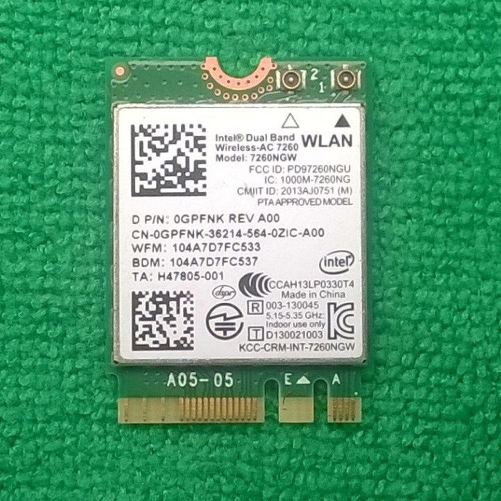 Intel Dual Band Wireless-AC 7260 WiFi card 7260NGW For Chromebook 11 3120  Series, D P/N: 0GPFNK