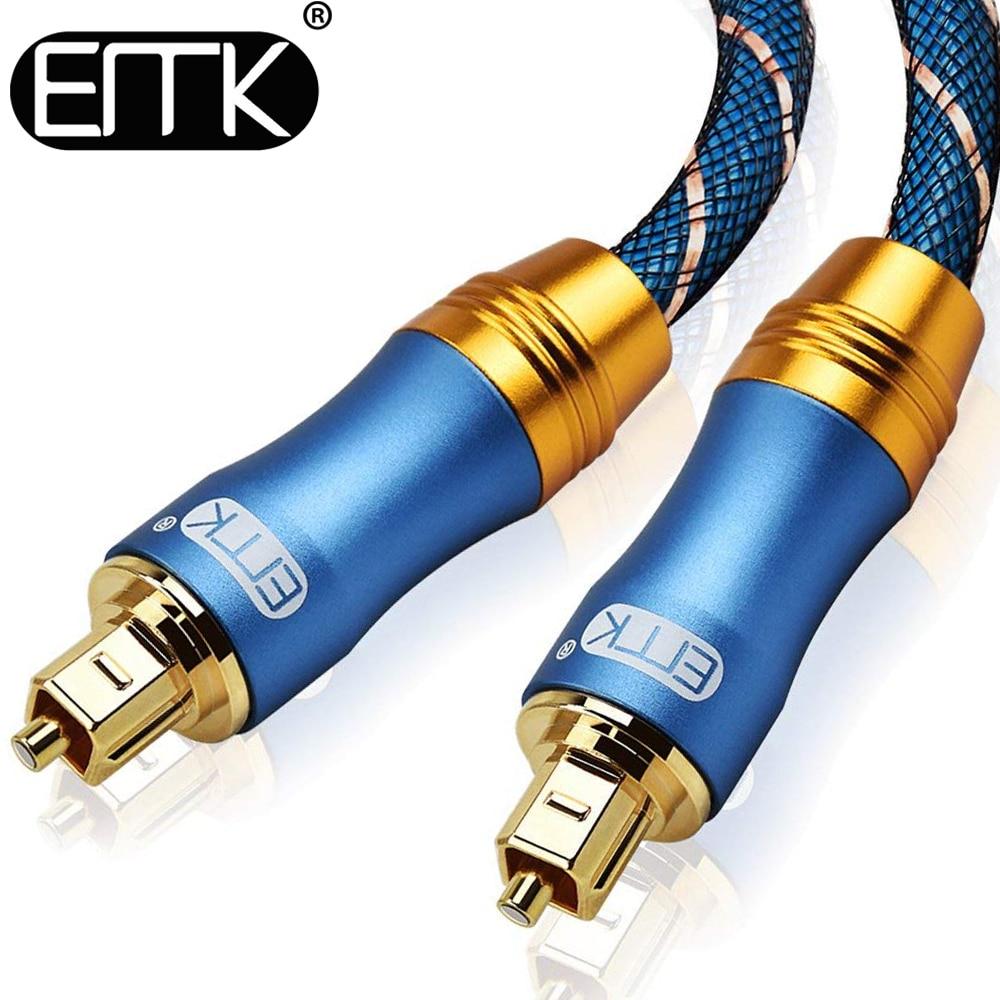 Cabo de áudio ótico da fibra do cabo de toslink do som de digitas emk 5.1 spdif com revestimento trançado od6.0 1m 2m 3m 10m 15m