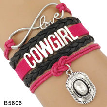 Infinity Love Cowgirl Cowboy Boots Hat Charm Pink White Women's Fashion Multilayer Leather Wrap Bracelets for Women(China)