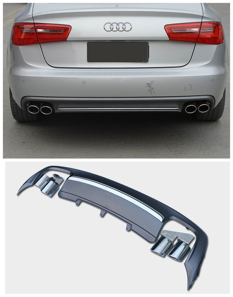 For audi a4 b9 2013 2014 2015 2016 rear lip spoiler high quality pp abs car bumper diffuser auto accessories