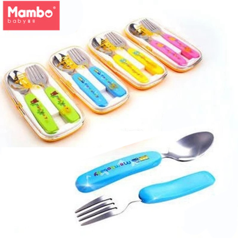 Mambobaby 2Pcs/Set Stainless Steel Baby Train Feeding Utensils Safety Fork Spoon Set with TPE Grip Training Flatware for baby