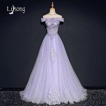 Lavanda Lila Fuera Del Hombro Una Línea de Piso-Longitud Vestidos de Noche Largo vestido de noiva Apliques Mujeres vestido de Noche Vestido Formal