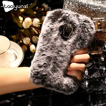 TAOYUNXI Rabbit Fur Case For Lenovo Vibe P1M P1mc50 5.0 inch  Case Cover Soft TPU Silicon Bag Housing Diamond Cover Shield Capa