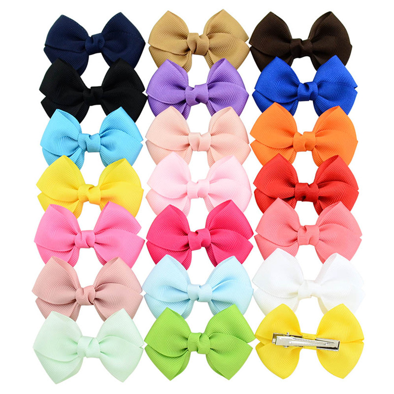 Solid Ribbon Bow Tie Hairclip For Girls Kids Bowknots Hair Clips Women Hairpins Hair Accessories Baby Hairgrips Decorations