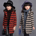 2016 autumn girls plaid long woolen coat outerwear children yellow beige  turn down collar kids winter hooded blends trench
