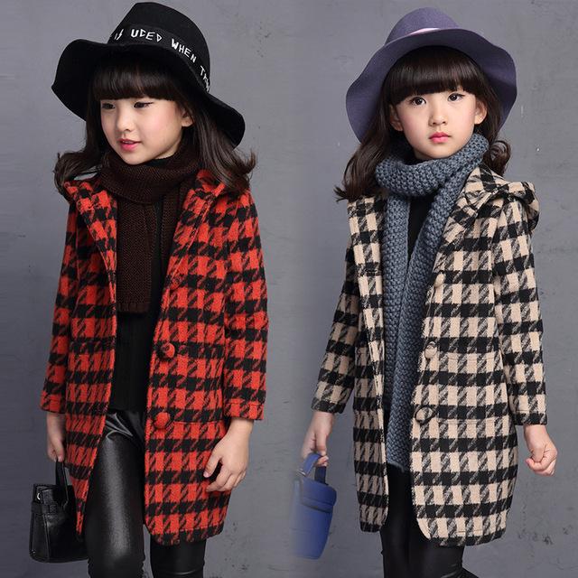 2016 muchachas del otoño a cuadros de lana largas prendas de abrigo para niños amarillo beige gira el collar abajo invierno de los cabritos encapuchados mezclas trench