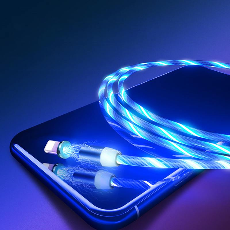 Magnetic USB Cable 1M LED Glow Flowing Micro USB Type C Mobile Phone Cables For Xiaomi mi9 Samsung Bright Charge Cord For iPhone-in Mobile Phone Cables from Cellphones & Telecommunications on AliExpress