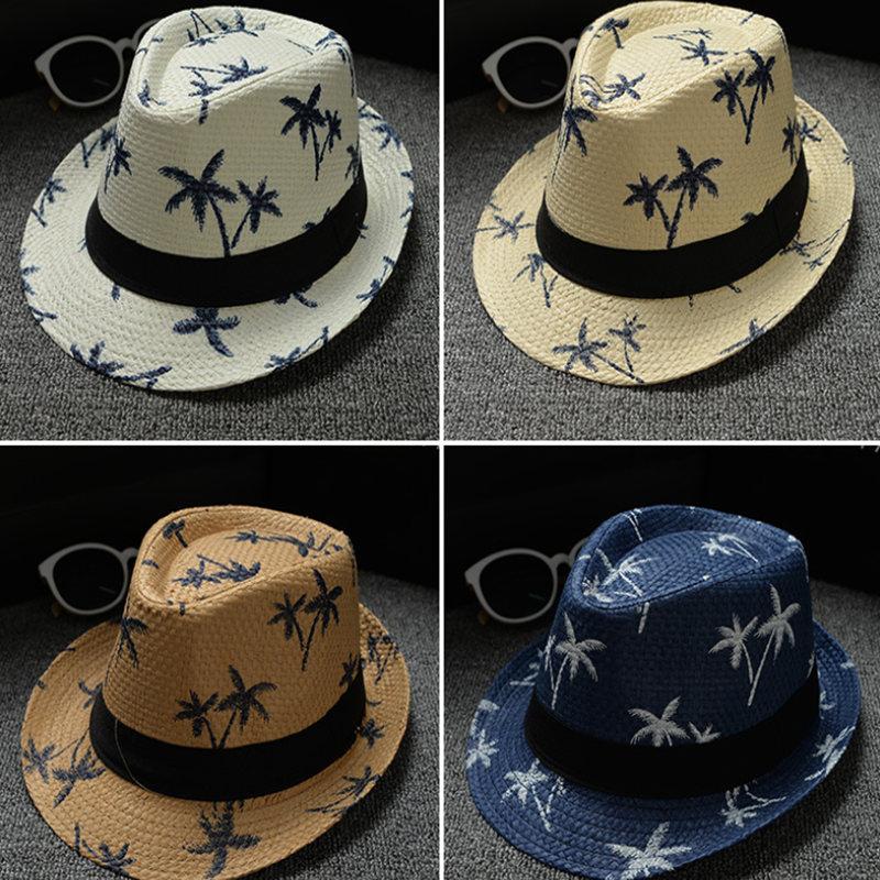 Summer Straw Sun Hat Coconut Palm Pattern Kids Beach Sun Hat Handwork for Boy Girl Children 4 Colour Hot Sale