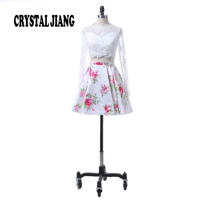 Fashion New Style 2017 Jewel Collar Lace Long Sleeves Custom made Floral Printed Two Pieces   Cocktail     Dresses