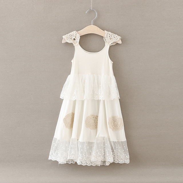 5d323d1df66 Girls Lace Dress Summer Ruffle Embroidered Puff Sleeve Sundress Beige Color  Party Dresses