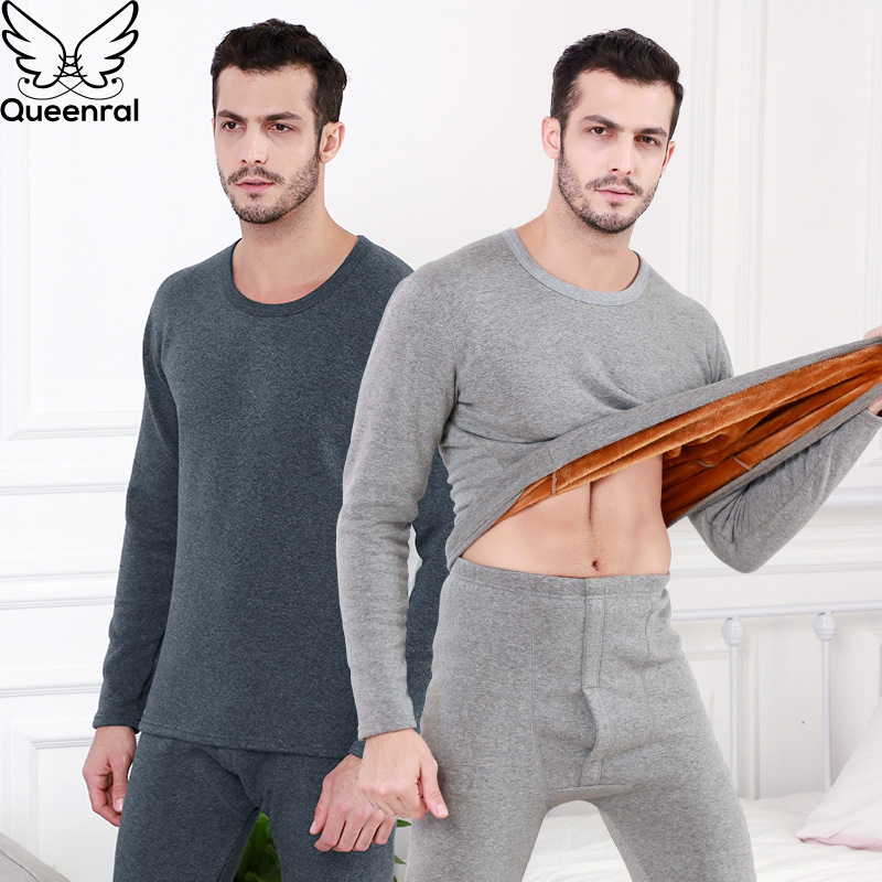 Queenral Thermal Underwear For Thermo Clothes Long Johns Sets For Winter Thermal Clothing Shirt+pants Sets Warm Thick