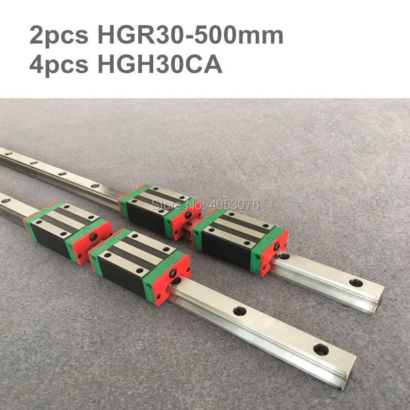 2 pcs linear guide HGR30 500mm Linear rail  and 4 pcs HGH30CA linear bearing blocks for CNC parts2 pcs linear guide HGR30 500mm Linear rail  and 4 pcs HGH30CA linear bearing blocks for CNC parts
