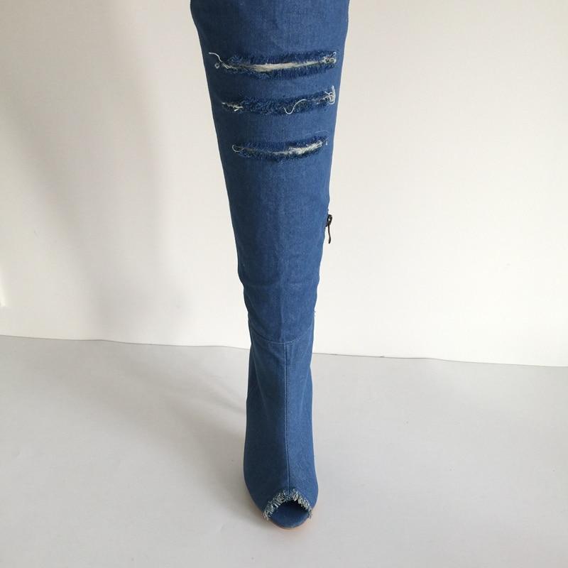 Blue Peep Blue med Alti Toe sky Nero blue Trimed Stivali Donna Pale Blue Stiletto Sopra outs Blue Jeans Denim Lungo Scarpe Il Coscia Ginocchio deep Sexy il Da Cut X47qa