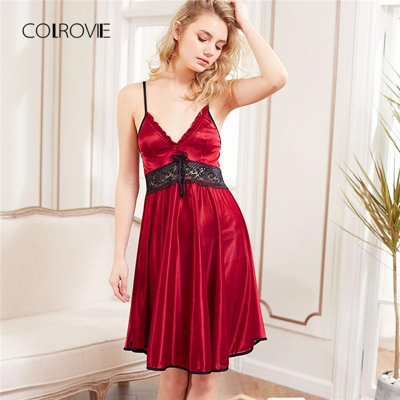 COLROVIE 2018 New Fashion Red Sleeveless Lace Panel Slip Nightgowns Women Spaghetti Strap Night Dress Sleepwear Sexy Dress