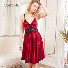 COLROVIE 2018 Nieuwe Mode Rode Mouwloze Kant Panel Slip Nightgowns Vrouwen Spaghetti Strap Night Dress Nachtkleding Sexy Jurk(China)
