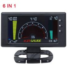 speedometer car tacometro digital tachometer rpm inter 6 in 1 Auto Gauge Volts Meter Oil Pressure Voltmeter Water temp