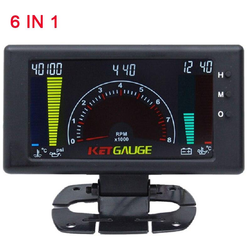 Цифровой Автомобильный Тахометр со спидометром tacometro rpm inter 6 в 1, автоматический датчик напряжения, измеритель давления масла, вольтметр, температура воды