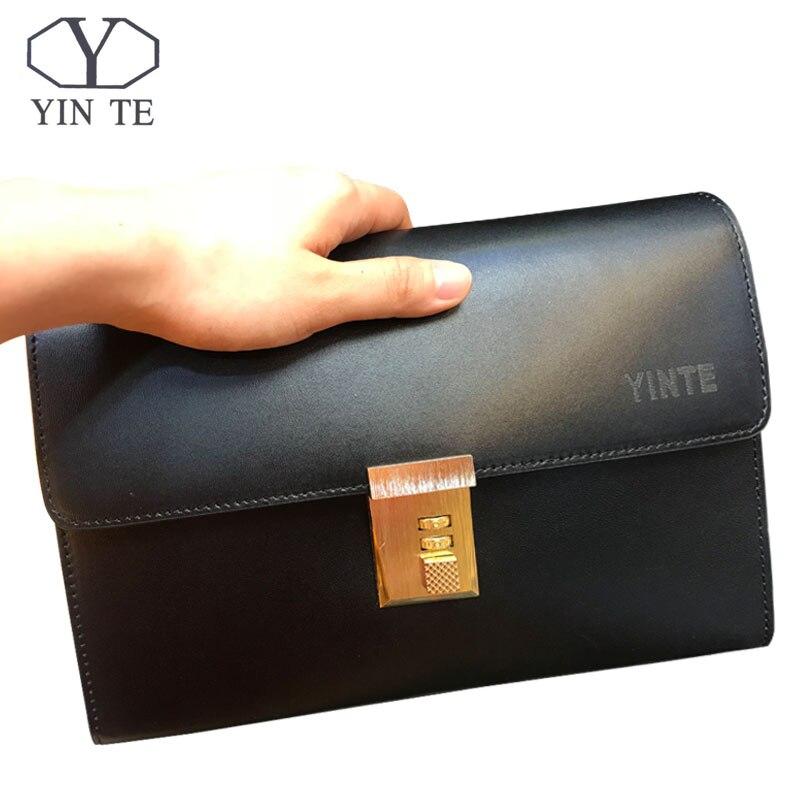 YINTE Men's High Quality Clutch Bag Leather Handbag Clutch Business Wallet Holder With Lock Bag Organizer Portfolio T8070-1