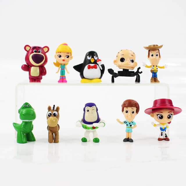 10 unids lote 6 cm Toy Story Woody Buzz Lightyear Jesse Andy Rex Little  Green 864898b4531