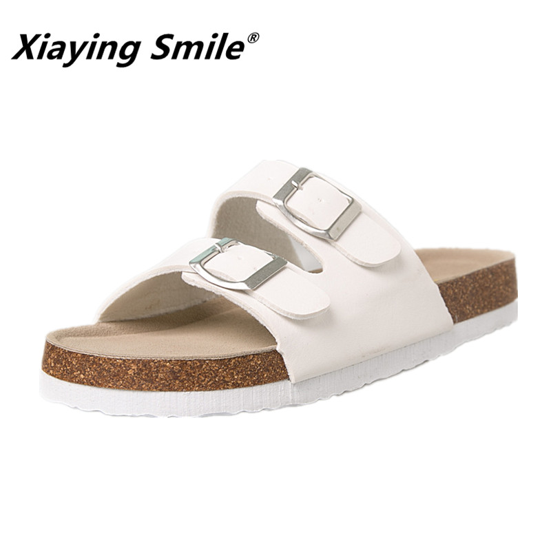 Xiaying Smile 2018 Style Classica Flat Sandals Summer Fashion Beach Sandals Top Quality Genuine Leather Two Buckle Soild Shoes