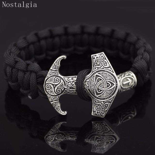Nostalgia Odin Raven Vikingos Thor Hammer Mjolnir Triskele Trinity Viking Jewelry Bracelet Valknut Vegvisir Rune Slavic Vikinga 2