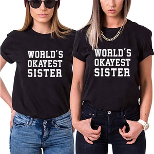 World's Okayest Sister Shirts for Women Fashion Short Sleeve T Shirt Women Cotton Best Friend Shirt Cute Bff Shirts Dropshipping
