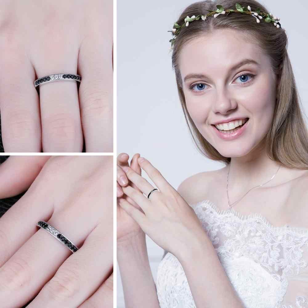 Jewelrypalace Echt Zwart Spinel Ring 925 Sterling Zilveren Ringen Voor Vrouwen Trouwringen Eternity Band Zilver 925 Fijne Sieraden