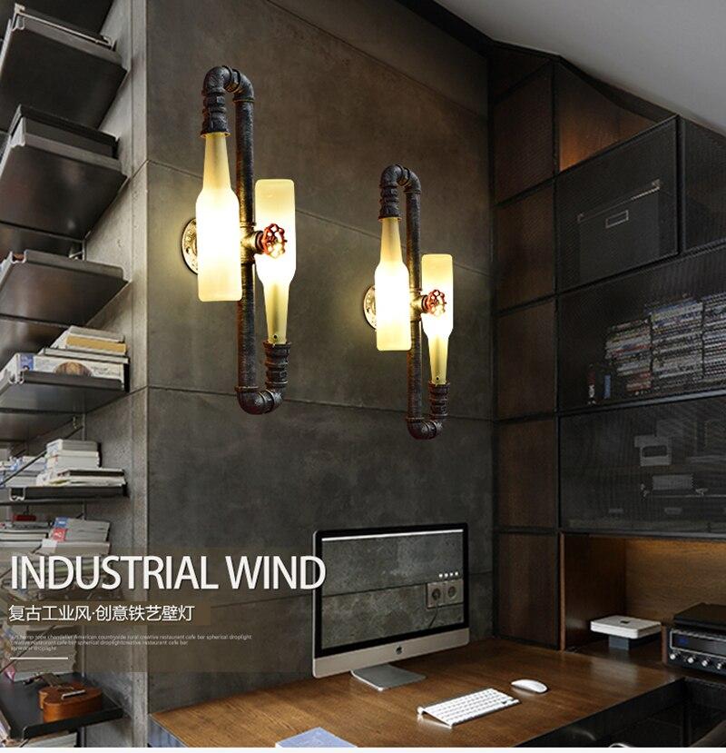 Mode Vintage Rustikalen Wandlampen Bierflasche Wandleuchte Led Licht für Bar Schlafzimmer Flur Balkon Decor G9 Led lampe Hause beleuchtung - 5