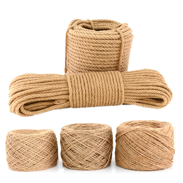 15m 4mm 5mm 7mm Natural Jute 3 Shares Twisted Cord Hemp Rope Diy
