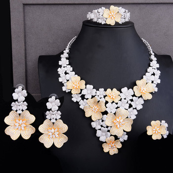GODKI Luxury Super Big Blossom Flower 4PCS African Jewelry Sets For Women Wedding Zircon CZ Nigeria Dubai Gold jewelry SetS 2019 2