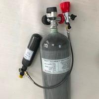 AC1682016New 6.8L + 0.35L 4500psi углерода волокно да воздушный цилиндр для PCP винтовка Охота Черный Калибр клапан АЗС регулятор