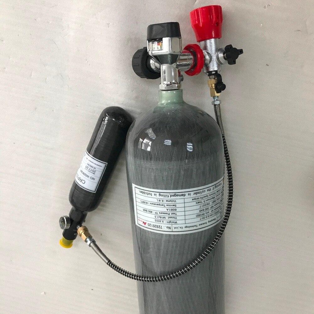 Ac1682016new 6.8l+0.35l 4500psi Carbon Fiber Scba Air Cylinder For Pcp Rifle Hunting+black Gauge Valve+filling Station+regulator