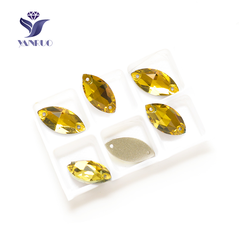 YANRUO 3223 Navette Topaz Glass Sew Crystal Glass Flat Back Rhinestones Sew On Stones Horse Eyes Stones For Clothes Shoes