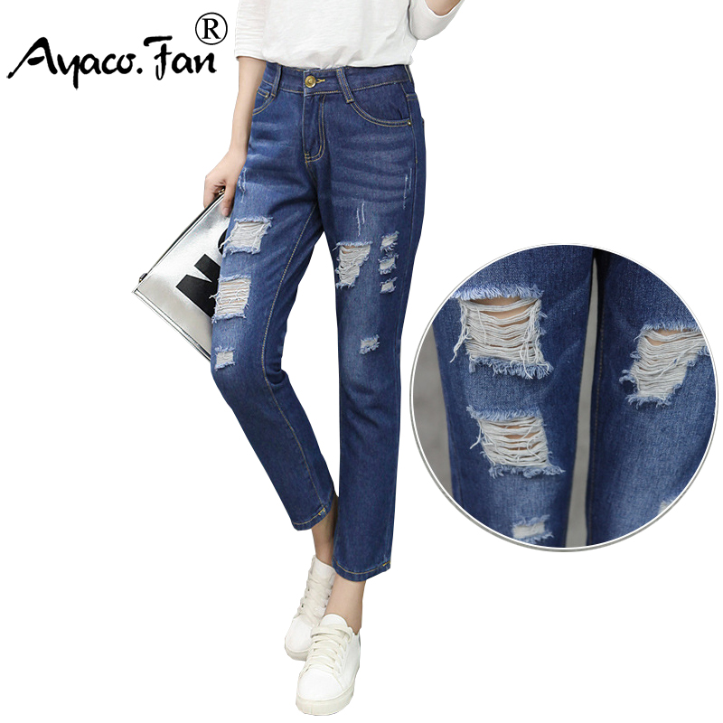 Plus Size Boyfriend Jeans for Women Blue Ankle-Length Pants 2017 New Fashion Loose Female Slim Harem Pants Denim Ladies Trousers plus size pants the spring new jeans pants suspenders ladies denim trousers elastic braces bib overalls for women dungarees