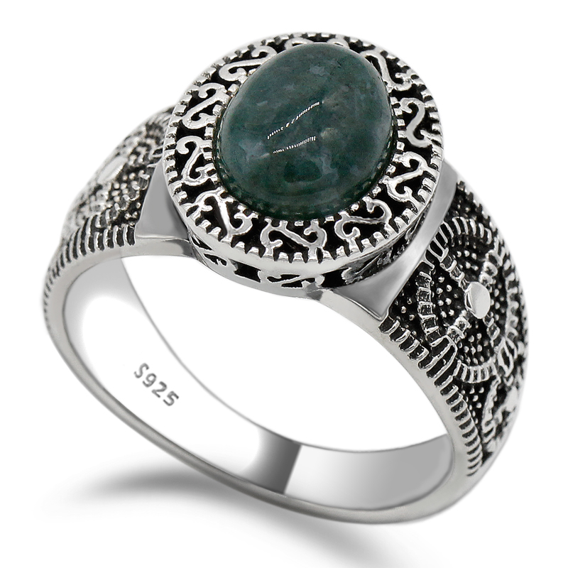 925 Sterling Silver Men Ring Setting Oval Green Natural Stone Timeless Vintage Retro Style for Women Men Jewelry in Rings from Jewelry Accessories