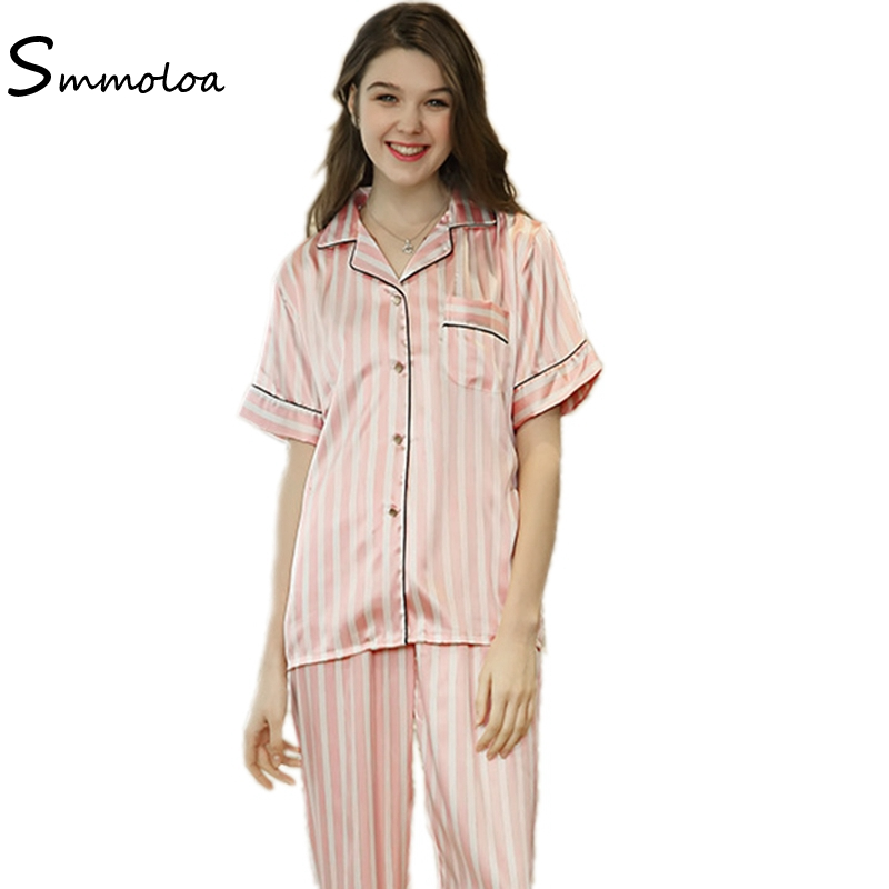 Smmoloa Wholesale Women Silk Satin Pyjamas Short Sleeve + Long Pants Pijama Summer New
