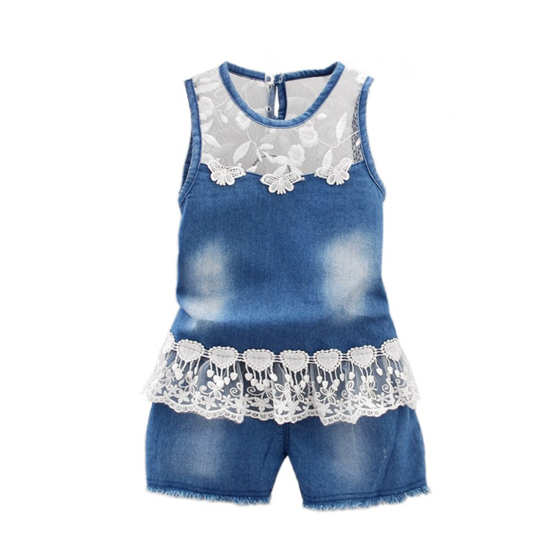 Summer Baby Girls  Fashion Flower Lace Toddler Denim Clothing Suit Sleeveless Jeans Tops + Shorts Clothes Set 2016 summer style fashion women s short pants lace ladies jeans denim shorts
