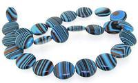 Unique Pearls jewellery Store 16mm Coin Blue Black Malachite Jasper Gemstone Loose Beads 15'' Full One Strand LC3 257