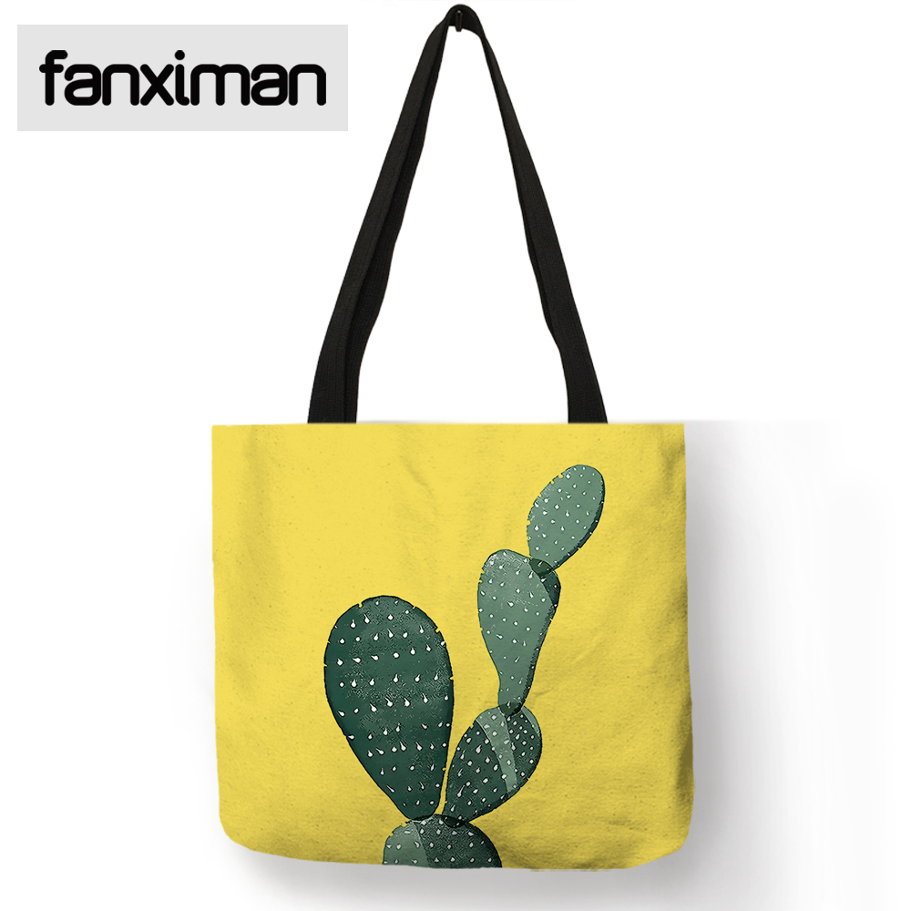 Fanximan Exclusive Custom Cactus Pattern Linen Tote Bag Tropical Plant Print Reusable Shopping Totes Folding Storage Beach Bags