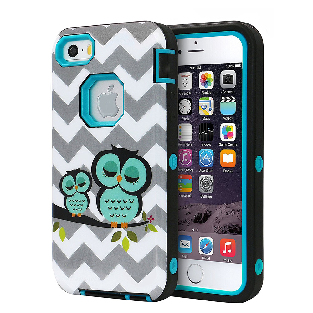 Case for Apple iPhone 5 5S SE 6 6S 6 Plus 6s Plus 6+ Kid Kids Cute Bird Owl Grey Wave Paint Girl Young Man for IP 5 IP5 6P 6sp ...