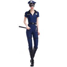 Blue Long Sleeve with Hat Female Police Suit,Deep V Neck Officer Uniform Adult Women Costumes Sheriff Uniforms