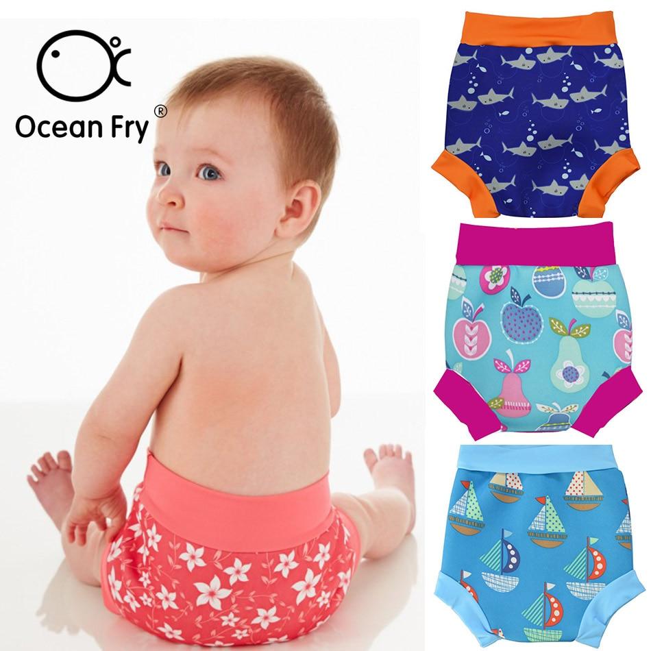Infant Children Leakproof Swimming Nappies Newborn Baby High Waist Swimming Trunks Baby Boys Girls Cartoon Printed Swim Diapers