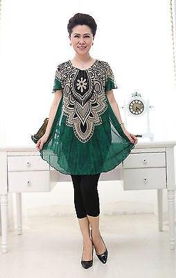 Womens Fashion shirts Knit print short sleeve Ladies skirts G1