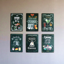 DL-vintage Garden cupcake coffee juice PLATE Tin Sign Bar pub home Wall Decor Retro Metal Art Poster