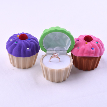 Lovely Mini Cupcake Cake Shape Earring Ring Storage Jewelry Box Christmas Gift Storage Boxes For Women Girls 3 Colors